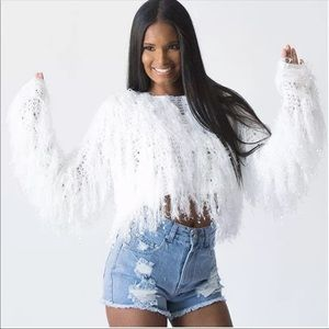 Sweaters - White Fringe Crop Top Sweater